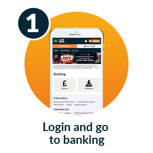 Pay by mobile casino - Step 1: Login and go to banking