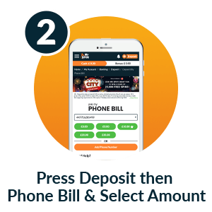 Pay by mobile casino - Step 2: Press Deposit then Phone Bill & Select Amount