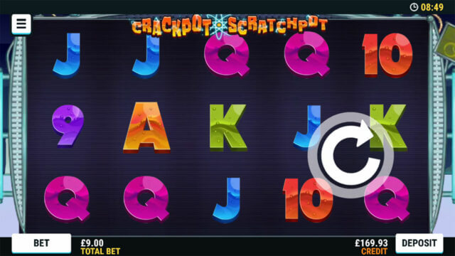 Playing Crackpot Scratchpot online slots at Mr Spin online casino