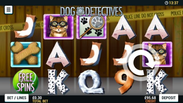 Playing Dog Detectives online slots at Mr Spin online casino
