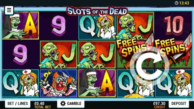 Playing Slots of The Dead online slots at Mr Spin online casino