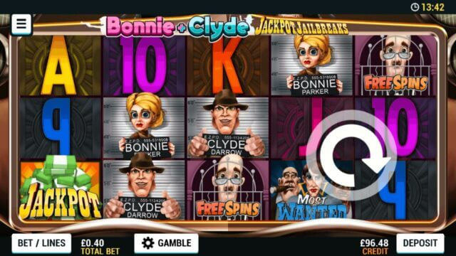 Playing Bonnie + Clyde Jackpot JailBreaks online slots at Mr Spin online casino