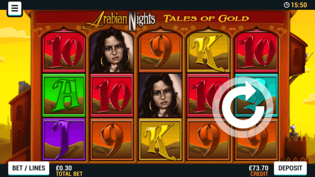 Playing Arabian Nights Tales of Gold online slots at Mr Spin online casino