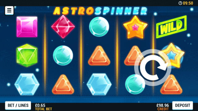 Playing Astro Spinner online slots at Mr Spin online casino