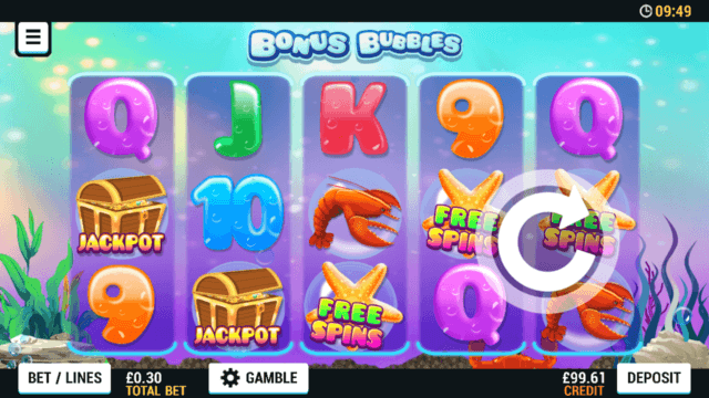 Playing Bonus Bubbles online slots at Mr Spin online casino
