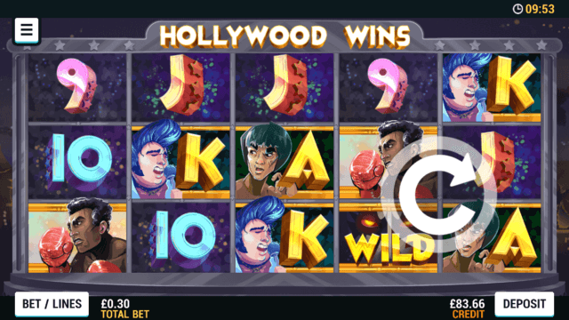 Playing Hollywood Wins online slots at Mr Spin online casino
