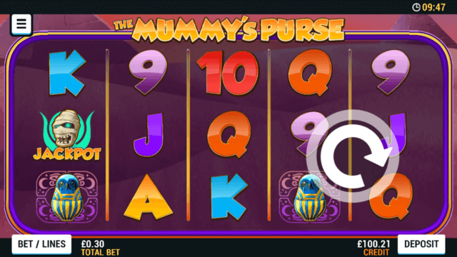 Playing The Mummy Purse online slots at Mr Spin online casino