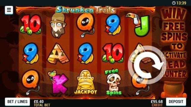 Playing Shrunken Trails online slots at Mr Spin online casino