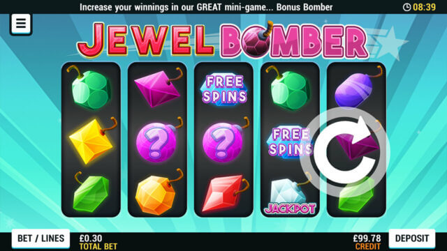 Playing Jewel Bomber online slots at Mr Spin online casino