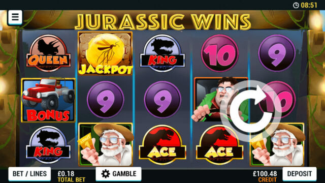Playing Jurassic Wins online slots at Mr Spin online casino