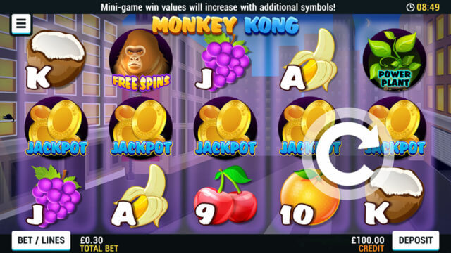 Playing Monkey Kong online slots at Mr Spin online casino