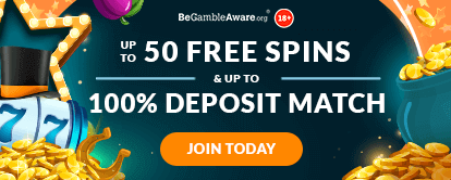 Mr Spin Online Casino's combinsed welcome bonus - Up to 50 free spins & up to 100% deposit match - Join Today