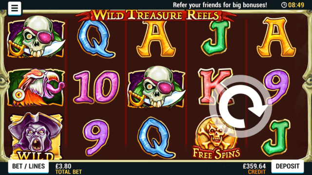Playing Wild Treasure Reels online slots at Mr Spin online casino