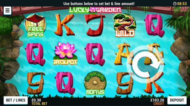 Playing Lucky Garden online slots at Mr Spin online casino