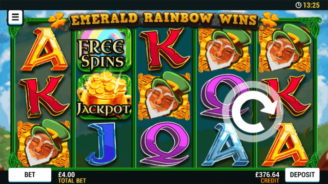 Playing Emerald Rainbow Wins online slots at Mr Spin online casino