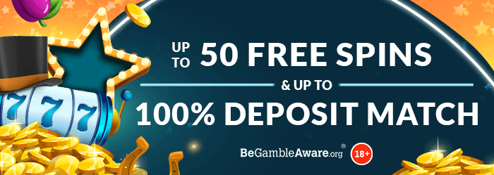 Mr Spin Online Casino's combinsed welcome bonus - Up to 50 free spins & up to 100% deposit match