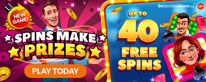 Spins Make Prizes online slots - Mr Spin Online Casino Game of the Month - Up to 40 free spins no deposit - play today