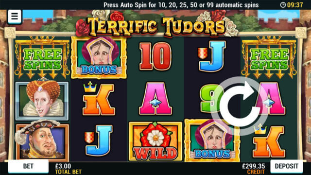 Playing Terrific Tudors online slots at Mr Spin online casino