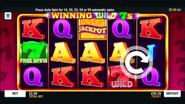 Winning WIld 7s online slots at Mr Spin online casino in game screenshot